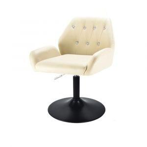Kosmetická židle LION na černém talíři - krémová