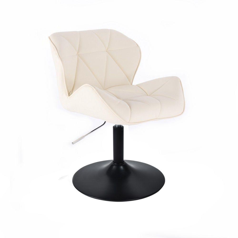Kosmetická židle MILANO na černé kulaté podstavě - krémová