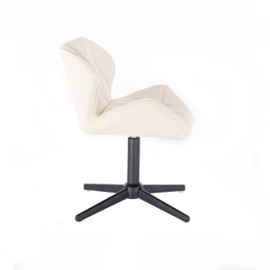 Kosmetická židle MILANO na černém kříži - krémová