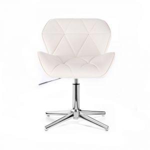 Kosmetická židle MILANO na stříbrném kříži - bílá