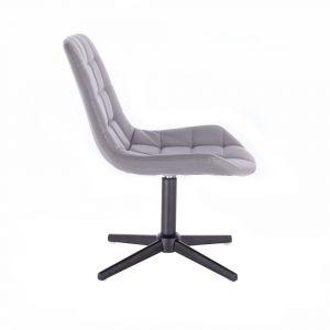 Kosmetická židle PARIS na černém kříži - šedá