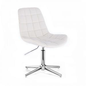 Kosmetická židle PARIS na stříbrném kříži - bílá