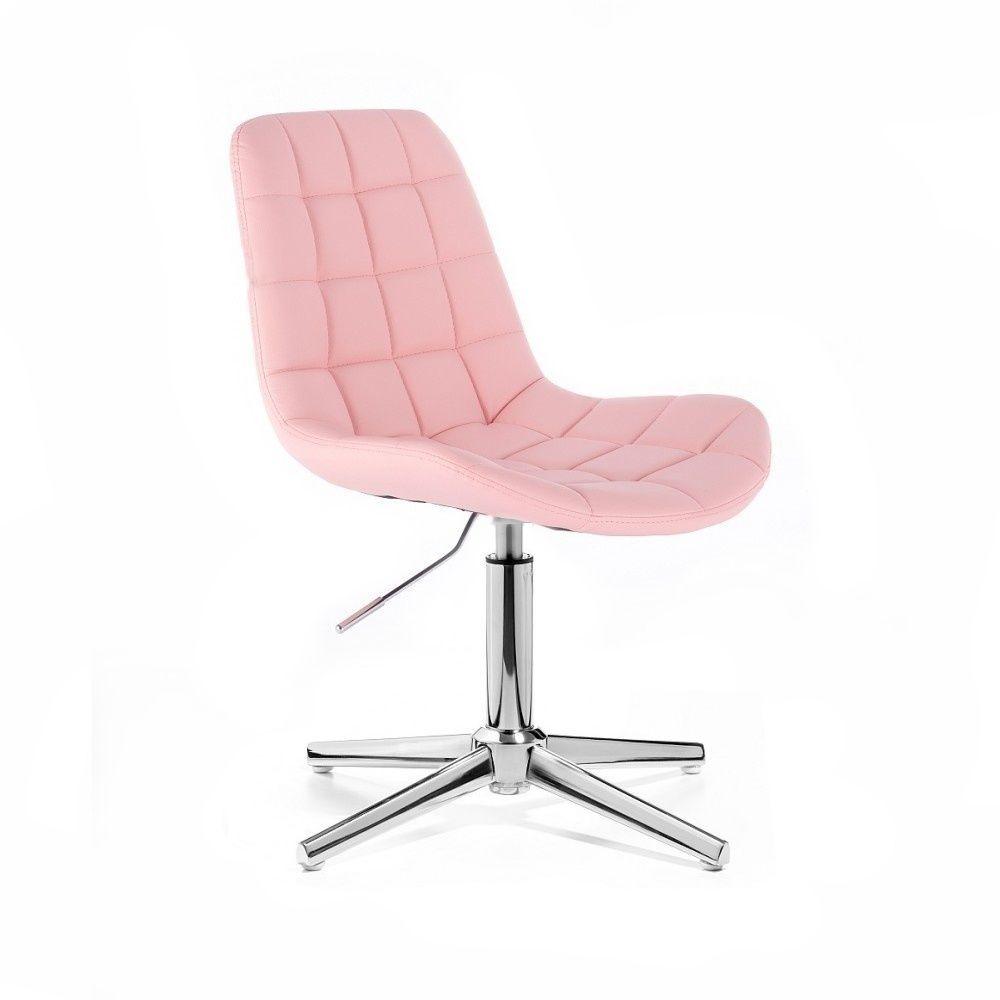 Kosmetická židle PARIS na stříbrném kříži - růžová