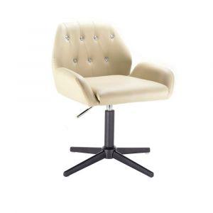Židle LION na černém kříži - krémová