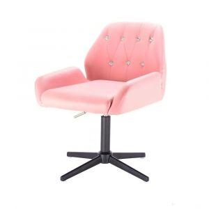 Židle LION na černém kříži - růžová