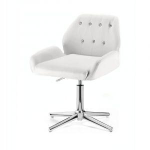 Židle LION na stříbrném kříži - bílá