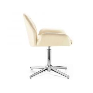 Židle LION na stříbrném kříži - krémová