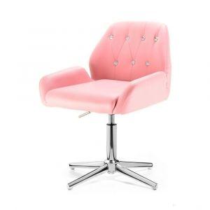 Židle LION na stříbrném kříži - růžová