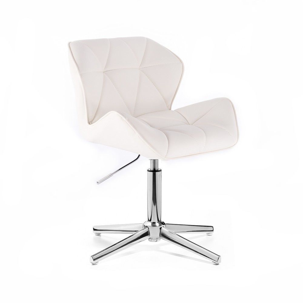 Židle MILANO na stříbrném kříži - bílá