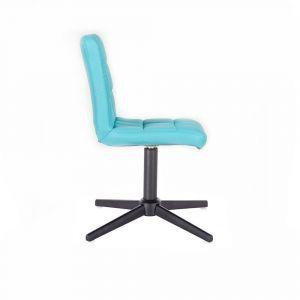 Židle TOLEDO na černém kříži - tyrkysová