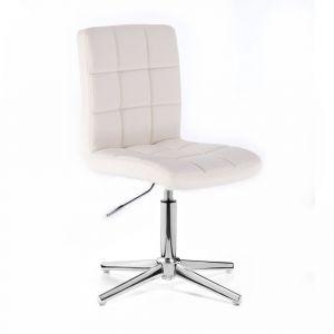 Židle TOLEDO na stříbrném kříži - bílá