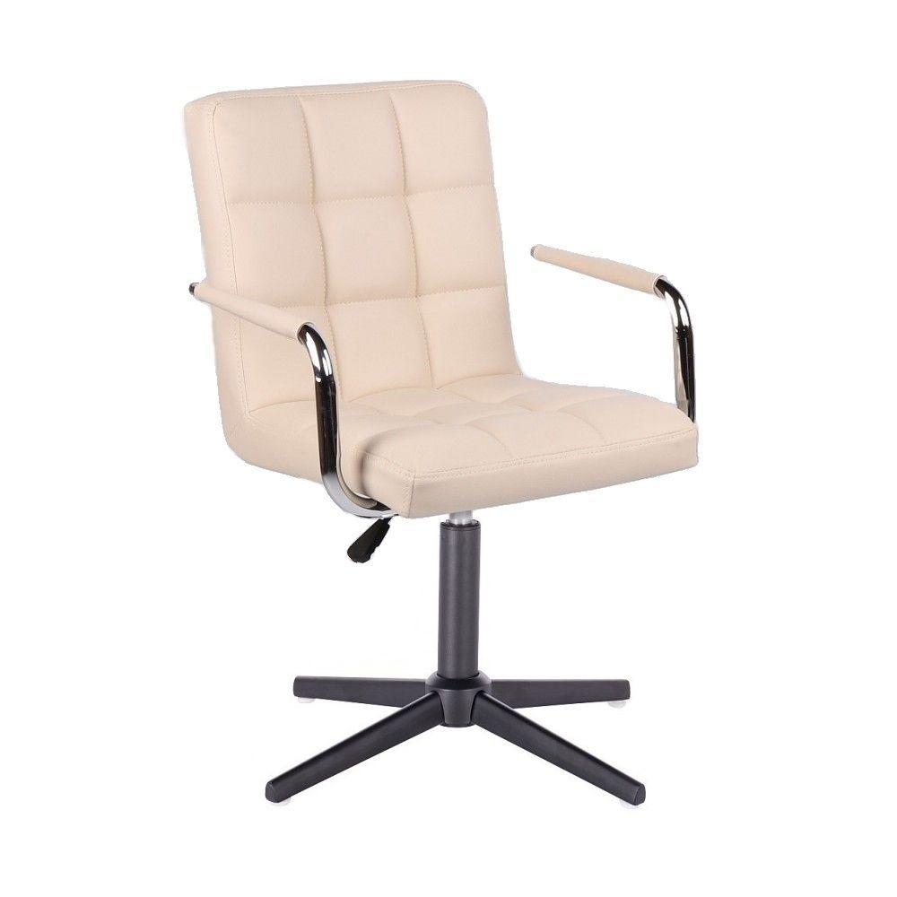 Židle VERONA na černém kříži - krémová
