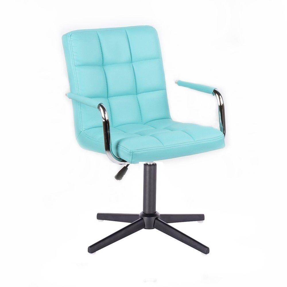 Židle VERONA na černém kříži - tyrkysová