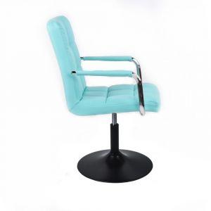 Židle VERONA na černém talíři - tyrkysová