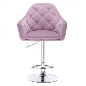 Barová židle ANDORA VELUR na stříbrné kulaté podstavě - fialová