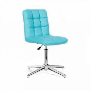 Kosmetická židle TOLEDO na stříbrném kříži - tyrkysová