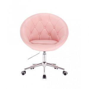 Kosmetické křeslo VERA na stříbrné podstavě s kolečky - růžové
