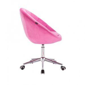 Kosmetické křeslo VERA VELUR na stříbrné podstavě s kolečky - sytá růžová