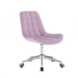 Židle PARIS VELUR na stříbrné podstavě s kolečky - fialový vřes