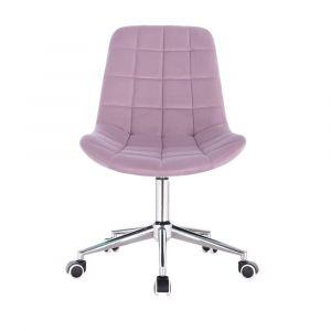 Židle PARIS VELUR na stříbrné základně s koly - fialový vřes