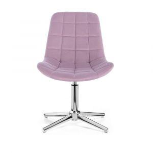 Židle PARIS VELUR na stříbrném kříži - fialový vřes
