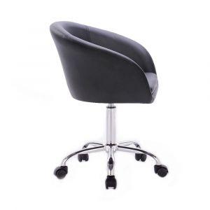 Židle VENICE na stříbrné podstavě s kolečky - černá