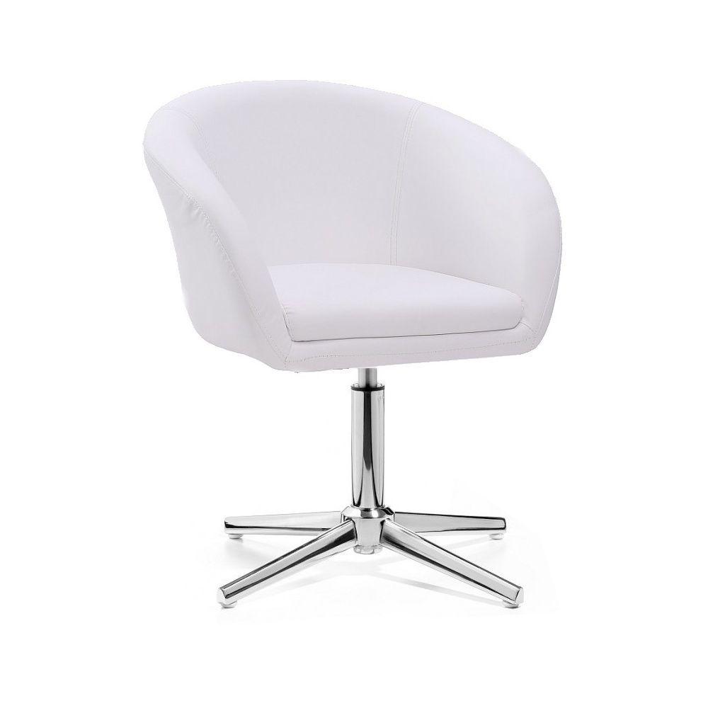 Židle VENICE na stříbrném kříži - bílá