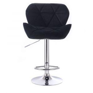Barová židle MILANO VELUR na kulaté stříbrné podstavě - černá(VPT)