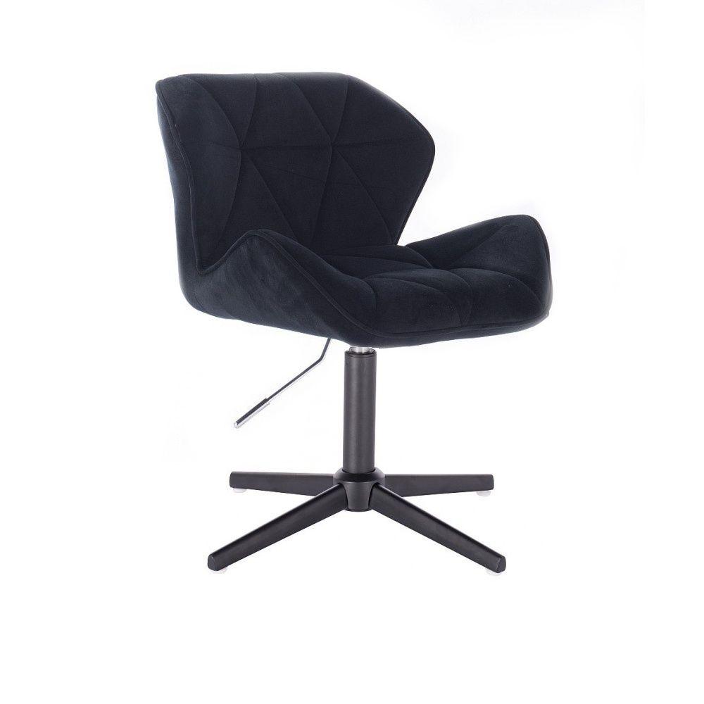 Kosmetická židle MILANO VELUR na černém kříži - černá
