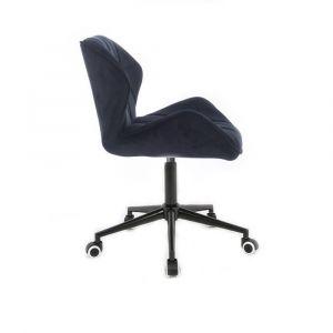 Židle MILANO VELUR na černé podstavě s kolečky - černá