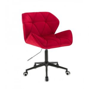 Židle MILANO VELUR na černé podstavě s kolečky - červená