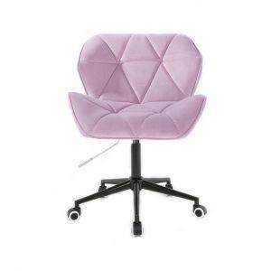Židle MILANO VELUR na černé podstavě s kolečky - fialový vřes