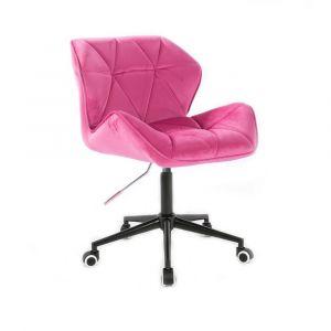 Židle MILANO VELUR na černé podstavě s kolečky - růžová