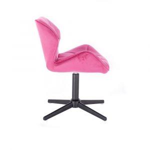Židle MILANO VELUR na černém kříži - růžová