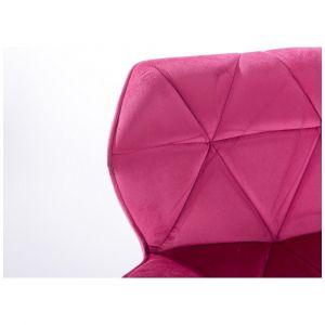 Židle MILANO VELUR na černém talíři - růžová