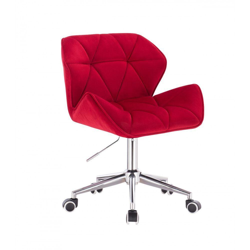 Židle MILANO VELUR na stříbrné podstavě s kolečky - červená