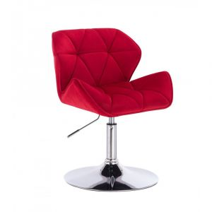 Židle MILANO VELUR na stříbrném talíři - červená