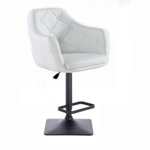 Barová židle ANDORA na černé základně - bílá