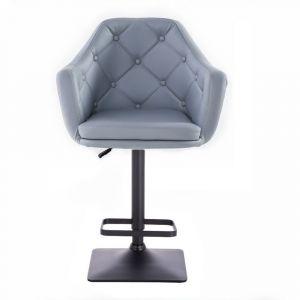Barová židle ANDORA na černé základně - šedá