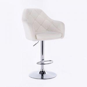 Barová židle ANDORA na kulaté chromové základně - bílá