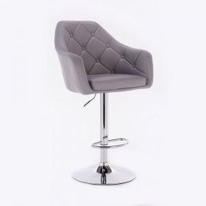 Barová židle ANDORA na kulaté chromové základně - šedá