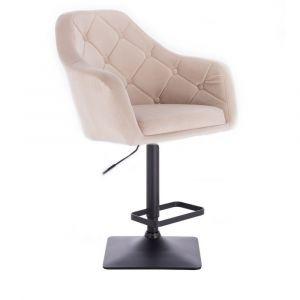 Barová židle ANDORA VELUR na černé podstavě - krémová