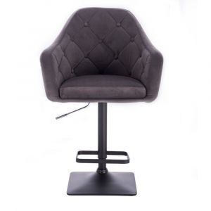 Barová židle ANDORA VELUR na černé podstavě - šedá