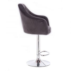Barová židle ANDORA VELUR na stříbrné kulaté podstavě - šedá