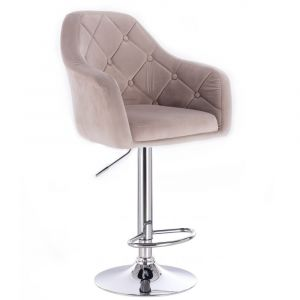 Barová židle ANDORA VELUR na stříbrné kulaté podstavě - béžová