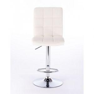 Barová židle TOLEDO na stříbrné kulaté podstavě - bílá