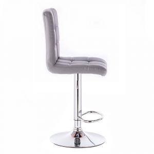 Barová židle TOLEDO na stříbrné kulaté podstavě - šedá
