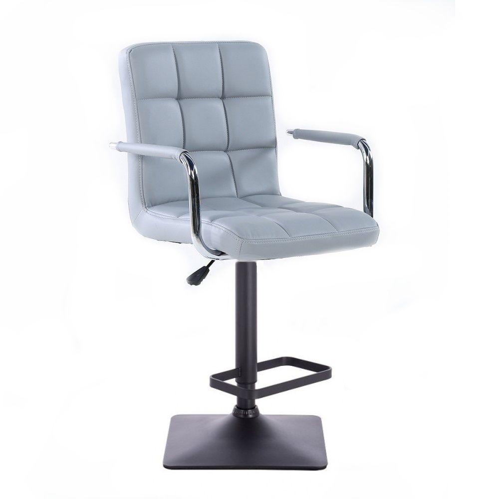 Barová židle VERONA na černé podstavě - šedá