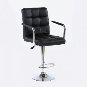 Barová židle VERONA na stříbrné kulaté podstavě - černá