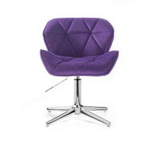 Kosmetická židle MILANO VELUR na stříbrném kříži - fialová